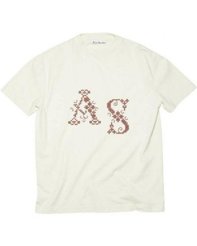 T-shirt bawełniana - beżowa Acne Studios