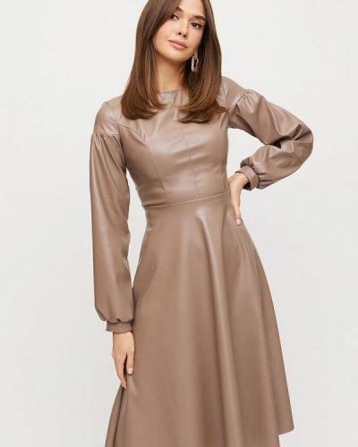 Кожаное бежевое платье Karree