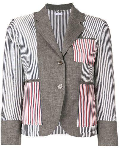 Пиджак серый в полоску Thom Browne