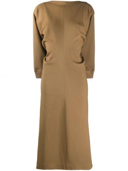 Beżowy bawełna sukienka midi z mankietami z draperią Givenchy