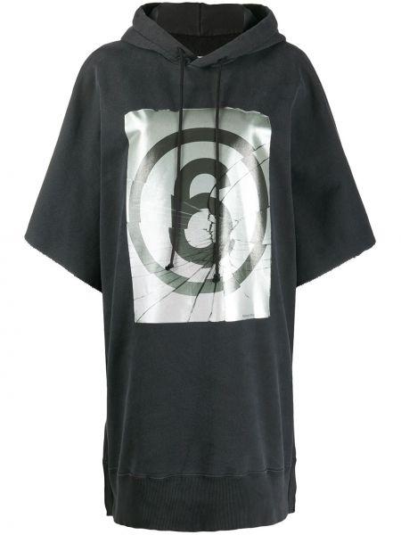 Bawełna bawełna czarny bluza z kapturem z kapturem Mm6 Maison Margiela