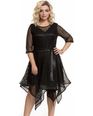 Платье с поясом с вышивкой сетчатое Novita