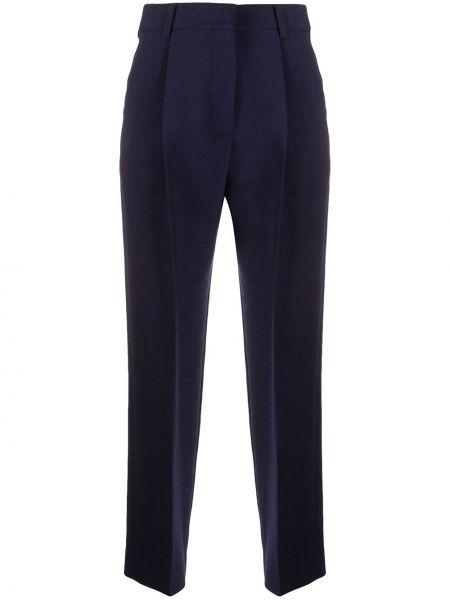 Плиссированные шерстяные синие укороченные брюки See By Chloé