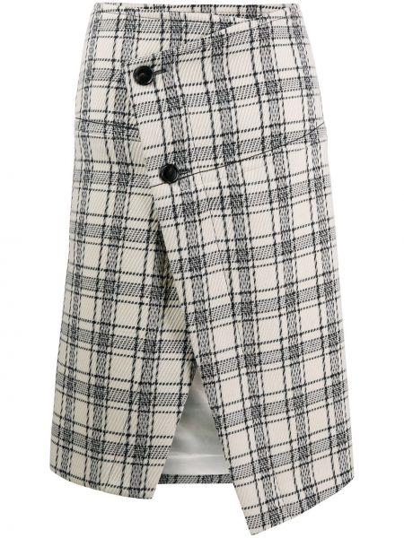 С завышенной талией асимметричная юбка миди с разрезом на пуговицах Marni