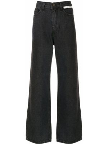 Черные джинсы на пуговицах с поясом свободного кроя Kimhekim