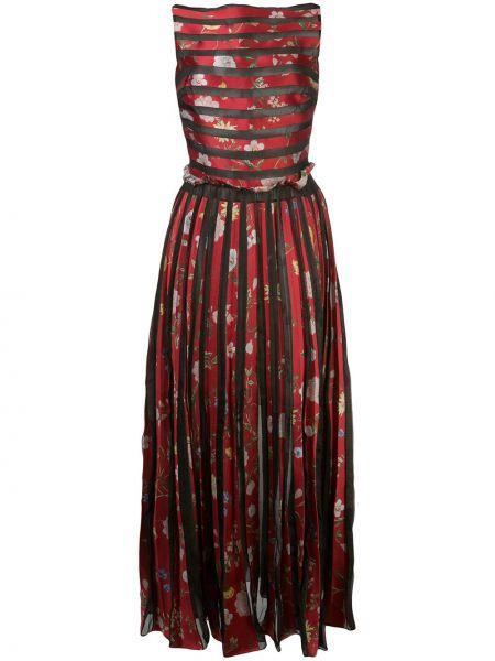 Платье с цветочным принтом плиссированное Oscar De La Renta