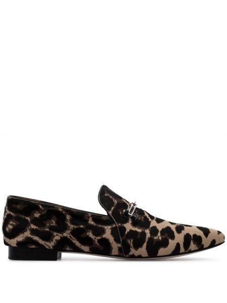 Лоферы леопардовые на каблуке Newbark