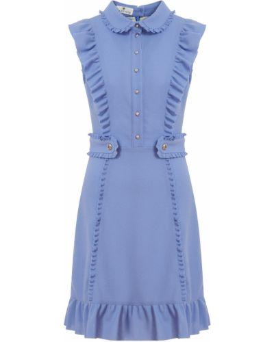 Фиолетовое шерстяное платье мини с оборками Laroom
