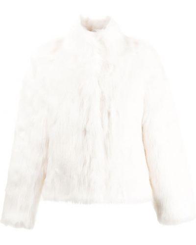 Satynowa biała długa kurtka z długimi rękawami Unreal Fur