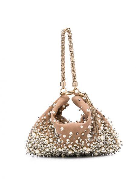 Beżowa torebka na łańcuszku skórzana perły Jimmy Choo