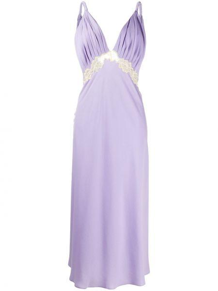 Фиолетовое плиссированное платье миди со вставками с V-образным вырезом Jonathan Simkhai