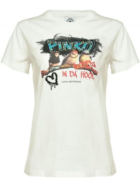 С рукавами белая футболка с капюшоном Pinko
