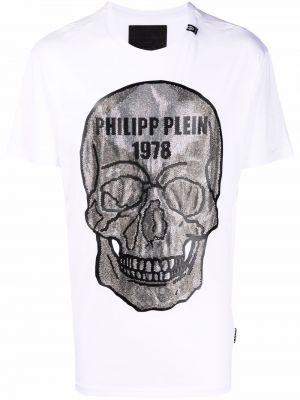 Хлопковая белая футболка с черепами Philipp Plein