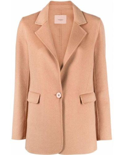 Однобортный коричневый удлиненный пиджак с карманами Twin-set