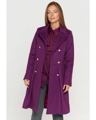 Фиолетовое пальто с капюшоном Sellin