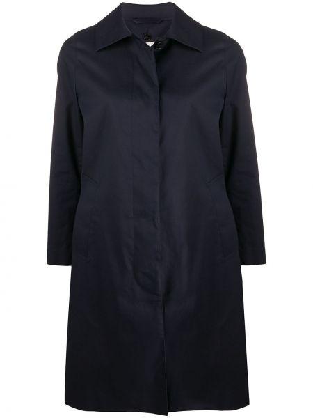 Синее шерстяное пальто классическое с капюшоном Mackintosh