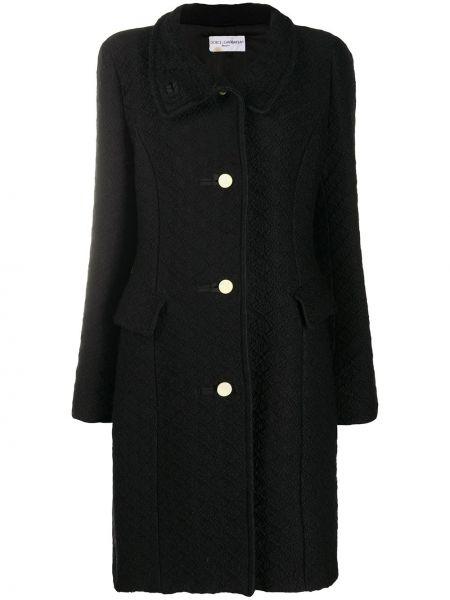Черное шерстяное пальто классическое с воротником на пуговицах Dolce & Gabbana Pre-owned