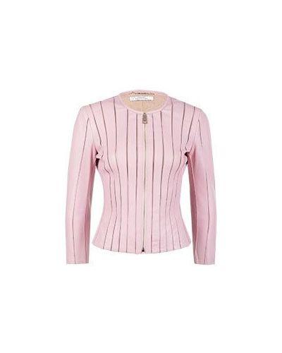 Кожаная куртка розовая Versace Collection