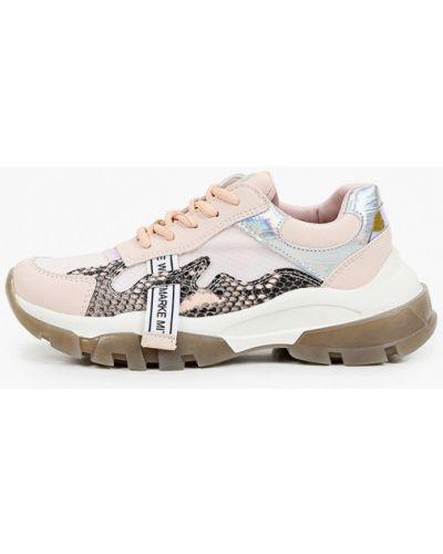 Розовые кожаные кроссовки Inario