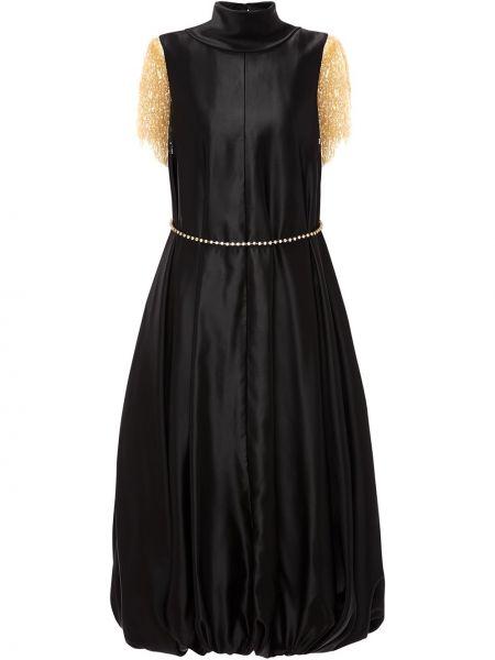 Акриловое черное платье миди с воротником с оборками Jw Anderson