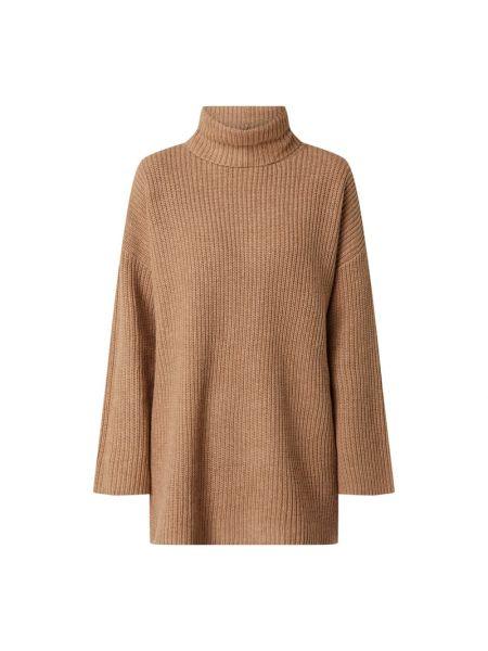 Prążkowany brązowy sweter wełniany Selected Femme