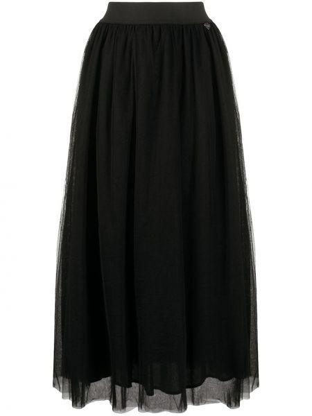 С завышенной талией черная юбка макси из фатина Twin-set