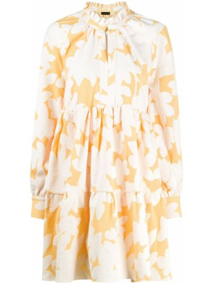 Расклешенное платье с вышивкой на пуговицах с рукавом реглан Stine Goya