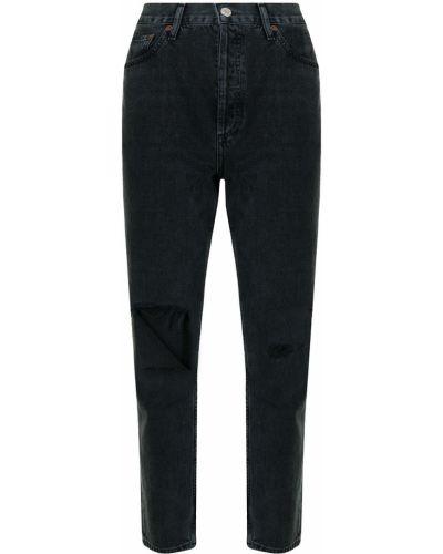 Хлопковые прямые джинсы на молнии с завышенной талией Agolde
