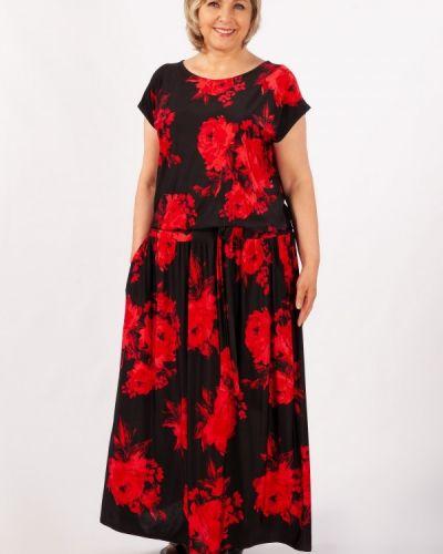 Свободное летнее платье на резинке с кокеткой с вырезом милада