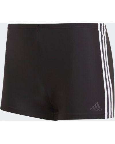 Черные плавки-боксеры в полоску с нашивками Adidas