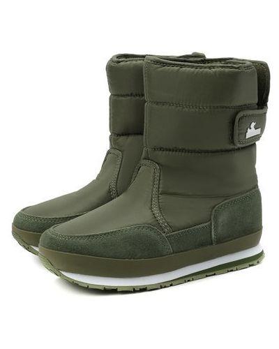 Утепленные зеленые кожаные сапоги Rubber Duck