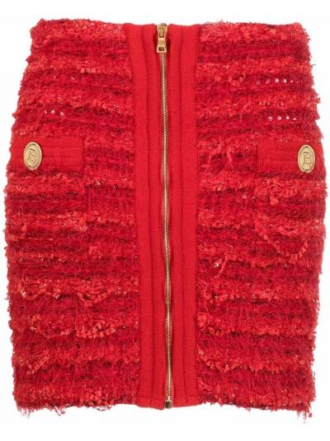 Красная юбка твидовая Balmain