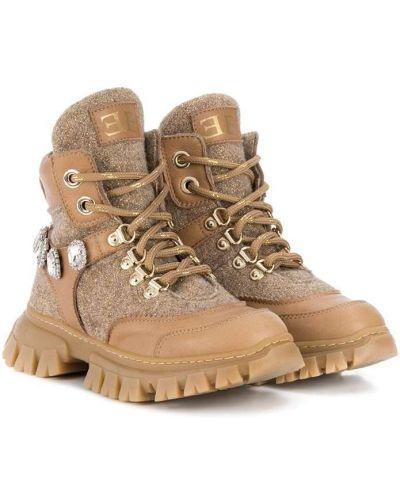 Кожаные коричневые ботинки на шнуровке с нашивками Ermanno Scervino Junior