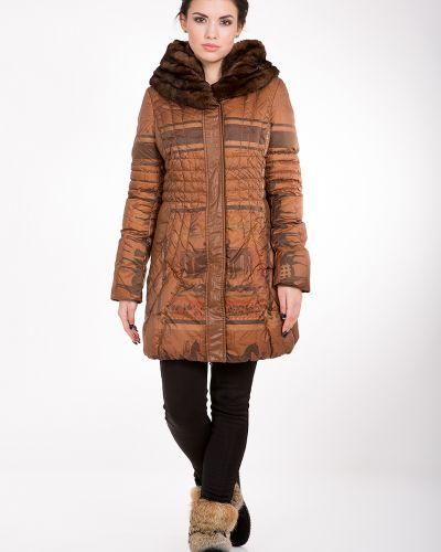Кожаная куртка с мехом - коричневая Rufuete