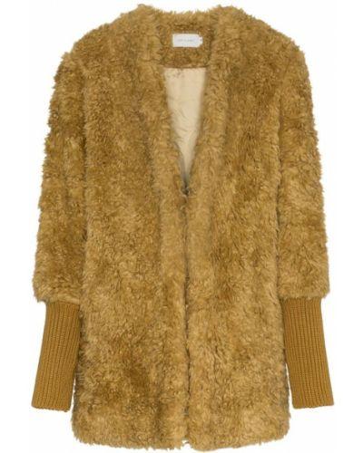 Однобортное желтое пальто классическое с капюшоном Low Classic
