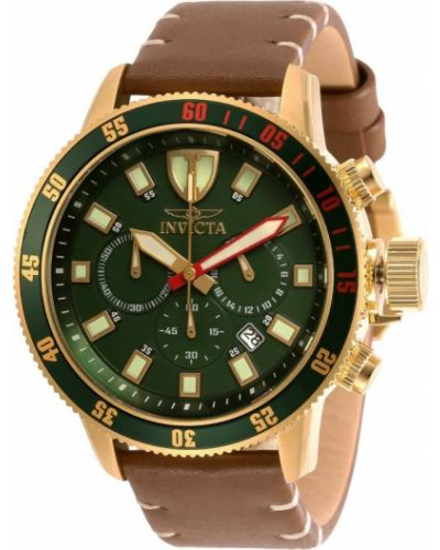 Зеленые с ремешком кожаные часы на кожаном ремешке Invicta