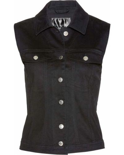 Черная жилетка с карманами свободного кроя Bonprix