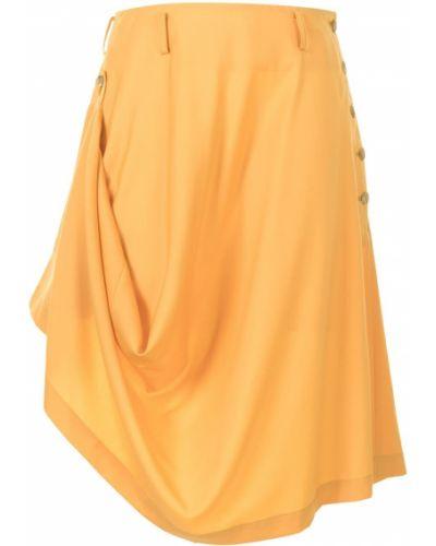 Wełniany asymetryczny żółty spódnica z draperią Comme Des Garcons Homme Plus