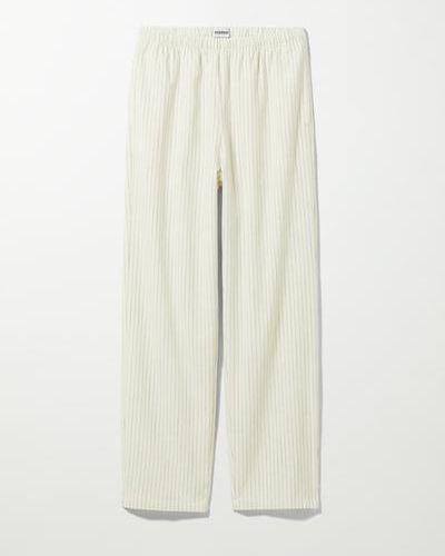 Белые брюки на шнуровке Weekday