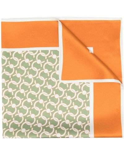 Zielony szalik z jedwabiu z printem Cafuné