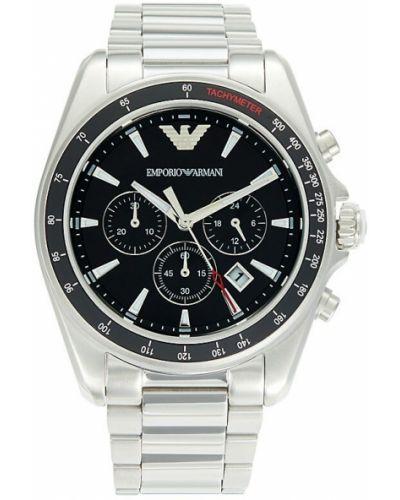 Czarny zegarek sportowy srebrny Emporio Armani