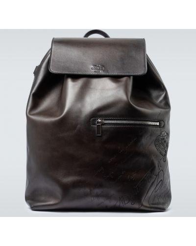 Черный кожаный рюкзак с карманами Berluti