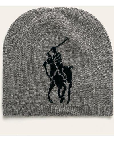 Szara czapka wełniana Polo Ralph Lauren