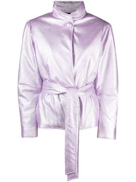 Фиолетовая кожаная куртка с поясом Gina