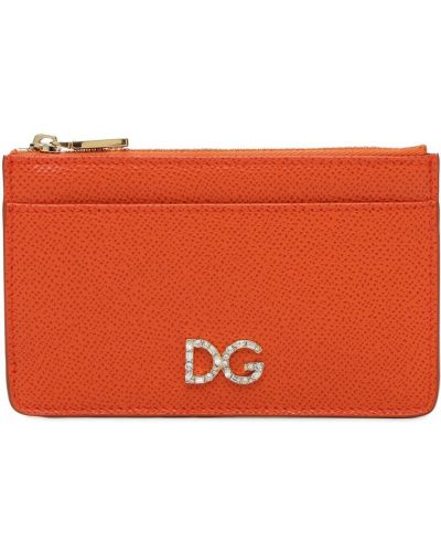 Оранжевая кожаная ключница Dolce & Gabbana
