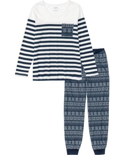Синяя пижама в полоску с длинными рукавами Bonprix