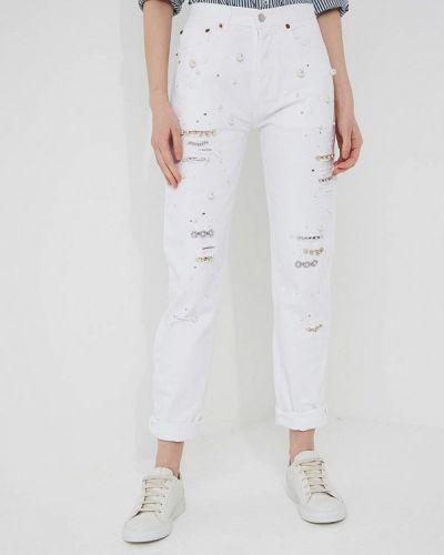Джинсы с высокой посадкой белые Forte Couture