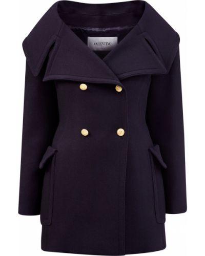 Синее шерстяное пальто двубортное Valentino