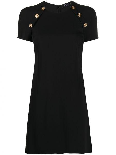 Черное прямое платье мини на пуговицах с вырезом Versace