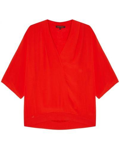 С рукавами красная блузка из вискозы Adolfo Dominguez